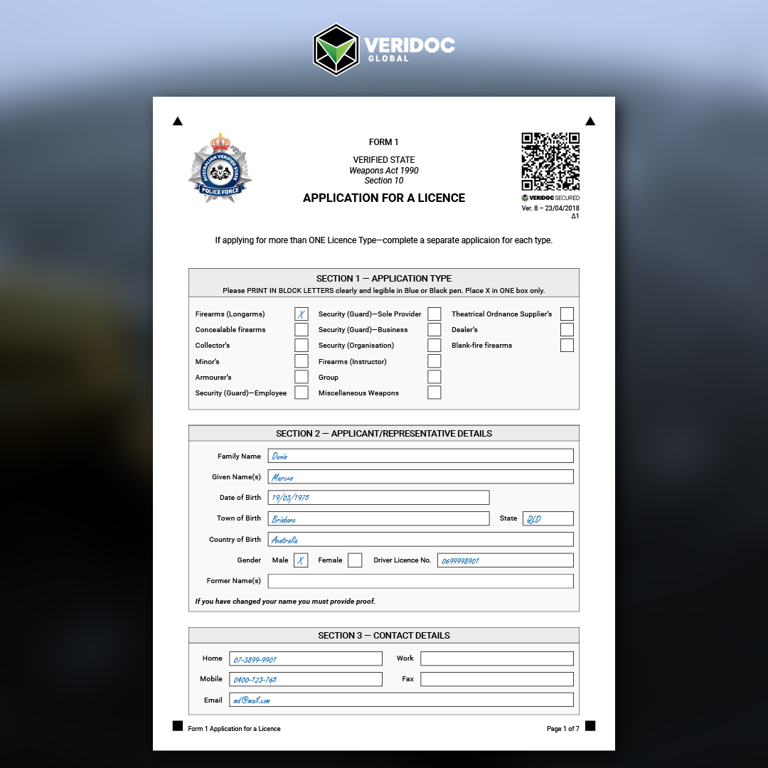 Secured-Weapon-Licence-Application
